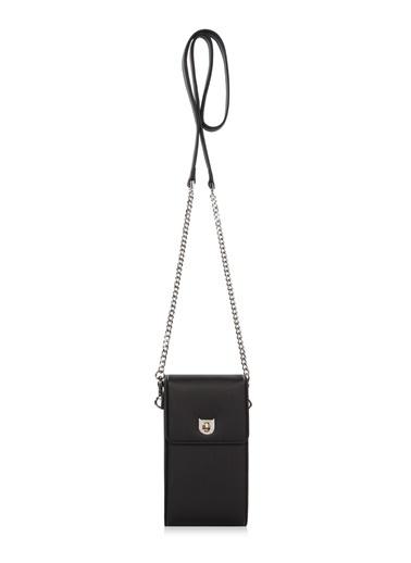Cengiz Pakel Cengiz Pakel 7253 Küçük Boy Zincir Detay Askılı  Renk Portföy Kadın Omuz Çantası Siyah